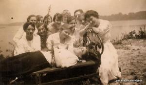 "1919 - Bowling club outing - Clara Fangmann center ( Mary Olert, ""Deceased"")"
